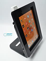 iPad mini 1/2/3 BLACK VESA Security Enclosure with Desktop Mount Stand, made from Acrlyic material for POS, Kiosk, Store Display, Square Card Reader