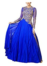 Arya Dress Maker Women's Net Unstitched Dress Material (Blue)
