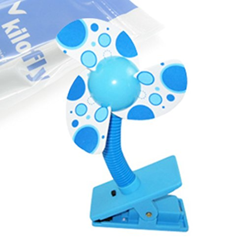 KF Baby Clip-On Mini Stroller Fan, Blue - 1