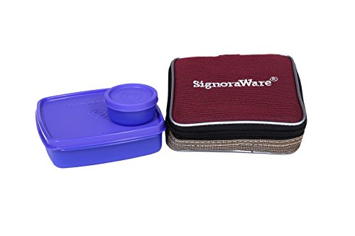 Signoraware Nano Twin Smart Lunch Box with Bag, Violet