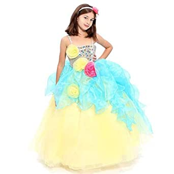 Girls Yellow Gemstone Rosette Birthday Pageant Dress 8
