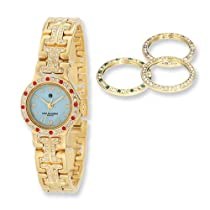 Charles Hubert Gld-pltd MOP Dial with 4 Color Bezels Watch