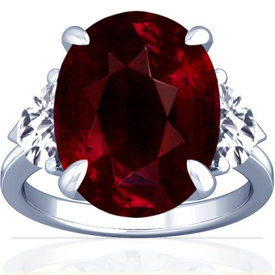 14K White Gold Oval Cut Ruby Three Stone Ring