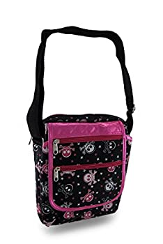 Skulls and Stars Hot Pink Trim Padded Gadget/Tablet Cross body Bag from Zeckos