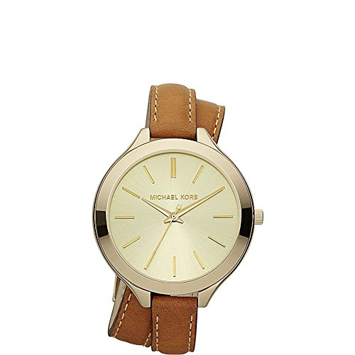 Michael Kors Mid-Size Luggage Leather and Goldtone Stainless Steel Slim Runway Three-Hand Watch