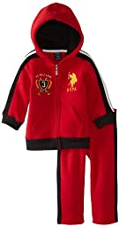 U.S. Polo Assn. Baby Boys\' Classic Zip Up Hoodie and Track Pant, Engine Red, 24 Months