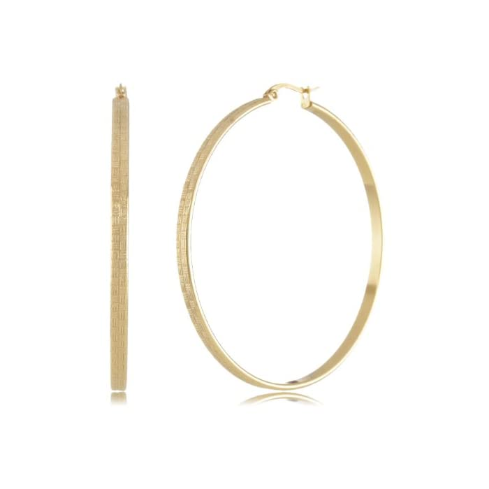 Stainless Steel 18Kt Gold Plated Hoops with Fancy Design Earrings