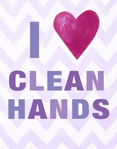 Cici Art Factory Wall Hanging, I Heart Clean Hands Lilac