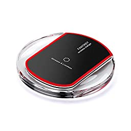 Wireless Charger, Paratron QI Wireless Square Charging Pad for Samsung S6 / S6 Edge, Nexus 4 / 5 / 6 / 7 (2013), LG Optimus Vu2, HTC 8X / Droid DNA and Other Qi-Enabled Devices ,Pure Black