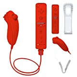 Stuff4® Red Nintendo Wii-Mote Remote & Nunchuck Controller Pack + Silicone Case + Wrist Strap