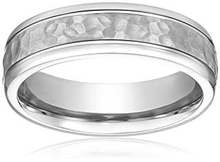 Men's Titanium Hammered Center Comfort-Fit Round Edge Plain Wedding Band (7 mm), Size 13