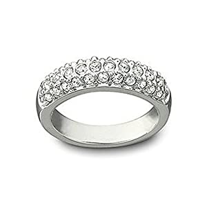 Engagement Ring White Gold Plated Studded With Cubic Zircon Made With Swarovski Elements, Gift For Her-M