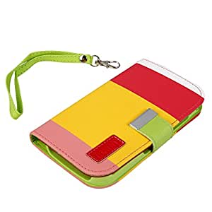 PU Leather Protective Case with Colorful Stripes for Samsung i9300 Red