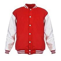 Angel Cola Red & White Retro Varsity Wool & Synthetic Letterman Jacket Red(Body) / White(Sleeve) Medium