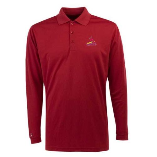 St Louis Cardinals Long Sleeve Polo Shirt (Team Color) - Medium at Amazon.com