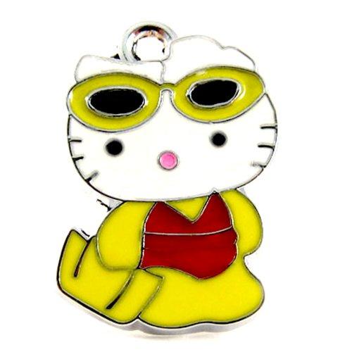 12X Hello Kitty Charm Enamel Pendant Charm/Beach HK with Sunglasses   DIY Jewelry Making