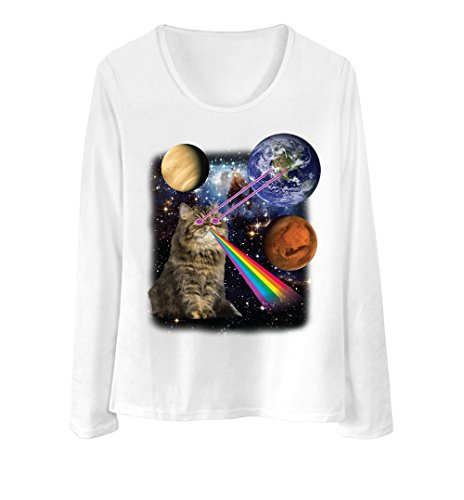 Women Long Sleeve T Shirt - 9 Colors - Persian cat eye lasers into galaxy