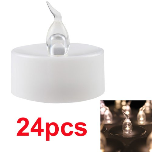 AGPtek® 24 Lot Warm White LED Battery-Operated Flameless Tea Light Candles With Timer For Wedding Christmas Outdoor Party Decoration