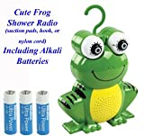 BXL Frog Shower Radio - Water Resistant ideal for shower - includes hook, suction pads &amp; nylon hang up cord rope (with alkali batteries)