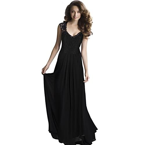 Miusol Women's Lace Chiffon Long Maxi Dress