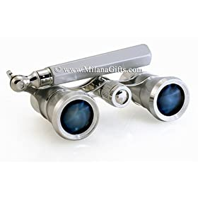 Milana Optics - Opera Glasses - Symphony - With Handle - Platinum Finish with Silver Rings