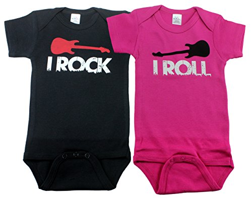 bodysuits-for-twin-girls-and-boys-includes-2-bodysuits-3-6-month-rock-roll