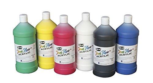 Sax 409812 True Flow Medium Bodied Acrylic Paint - Quart - Set of 6 - Assorted Colors