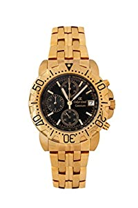 Oskar-Emil Classic Chrongraph Caesium 1119G Men's Quartz Watch with Black Dial Analogue Display and Gold Stainless Steel Gold Plated Bracelet