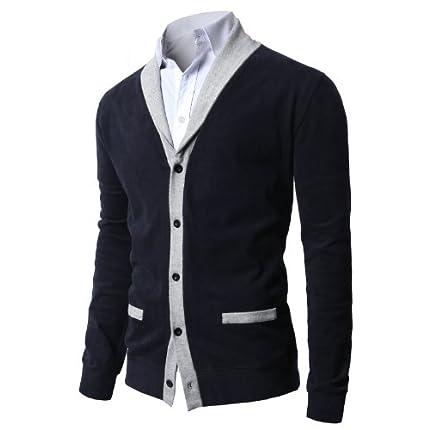 H2H Mens Shawl Collar Cardigan with Fake Pockets N...