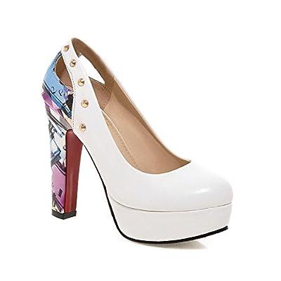 BalaMasa Ladies Studded Rivet Color Matching Thick Bottom Heel Graffiti Pattern Imitated Leather Pumps-Shoes