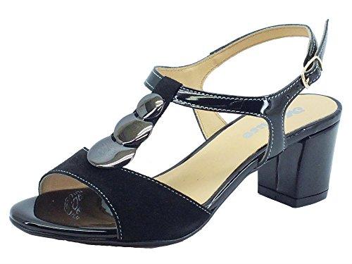 Sandali Melluso eleganti in camoscio e vernice nera (Taglia 36)