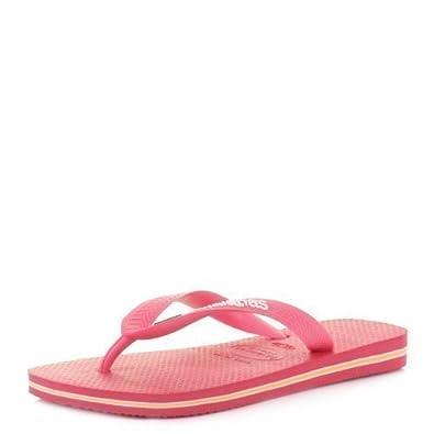 Havaianas Brasil Logo Neon Pink Flip Flops Sandals SIZE 11/12 BRA 45/46