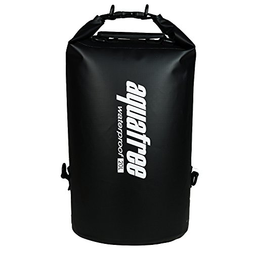 Aquafree 防水バッグ 20L ドライバッグ 黒い マリンスポーツ用バッグ 防水ケース・ダイビングバッグ バイク用デイパック