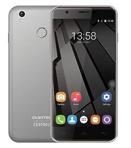 Oukitel U7 Plus - 5.5 pulgadas HD Android 6.0 4G teléfono inteligente de cuatro núcleos a 1,3 GHz 2 GB de RAM 16 GB de ROM de la huella digital GPS Dual SIM 13 MP - gris