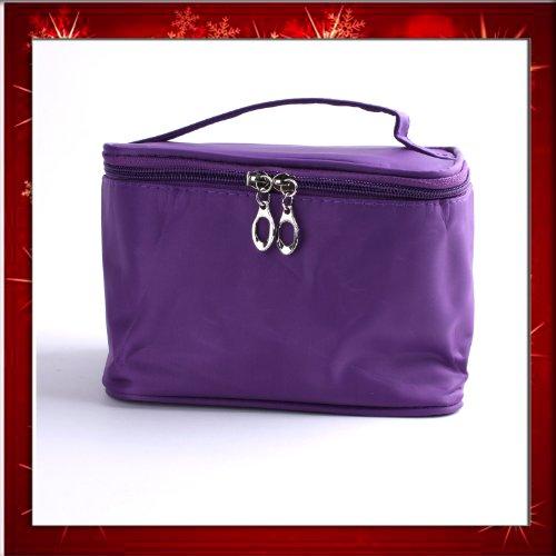 Purple Foldable Lady Makeup Cosmetic Hand Case Zipper Pouch Bag PurseB0269