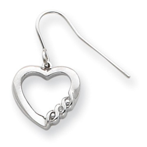 Sterling Silver Heart Diamond Earrings