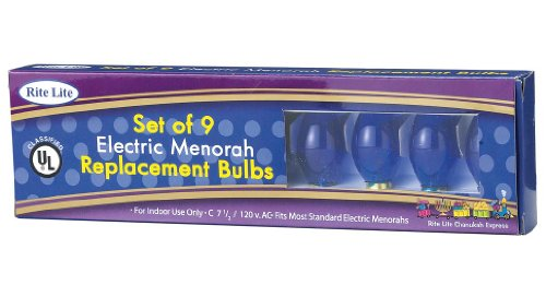 9Ct Blue C7 1/2 Electric Hanukkah Menorah Glass Replacement Bulbs