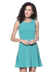Wisstler Women's Lite Green Poly Crepe Dress Size - Small