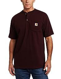 Carhartt Men\'s Shortsleeve Workwear Henley T-Shirt K84,  Port,  X-Large