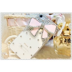 3d Bling Crystal Bow Transparent Case for Apple Iphone 4 and 4s (Pink)