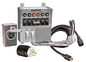 Reliance Controls 31406CRK Pro/Tran 6-Circuit 30 Amp Generator Transfer Switch Kit With Transfer Switch, 10-Foot Power Cord, And Power Inlet Box For Up To 7,500-Watt Generators