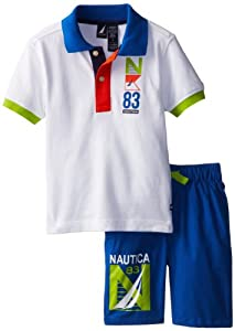 Nautica Boys 2-7 Striped Polo Shirt with Short 2 Piece Set from Nautica