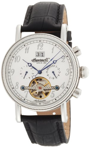Ingersoll Gents White Dial Black Leather Strap Watch
