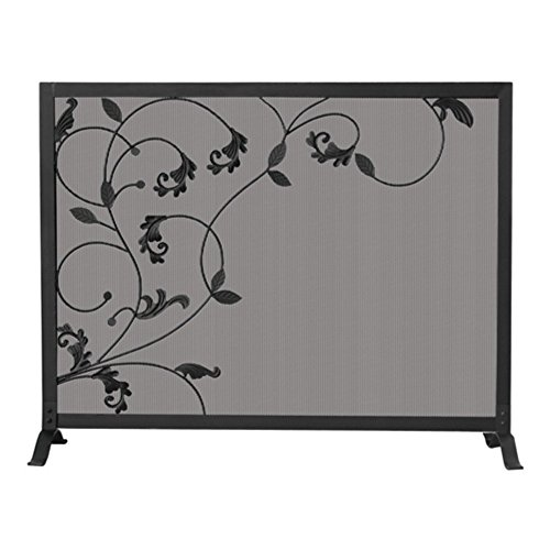 Uniflame S-1043 One Panel Black Screen with Flowing Leaf Design (Fireplace Screen Leaves compare prices)