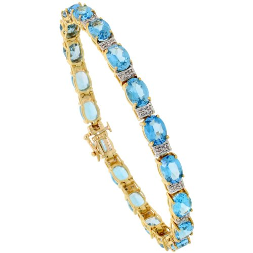 Blue Topaz and Brilliant Cut Diamonds Birthstone Luxury Tennis Bracelet