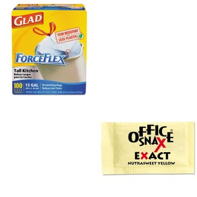 kitcox70427ofx00062-value-kit-office-snax-nutrasweet-yellow-sweetener-ofx00062-and-glad-forceflex-ta