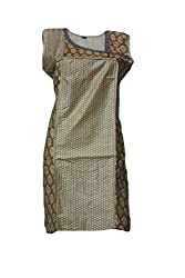 Tulip Collections Women's Cotton Silk Embroidered Kurti (Golden Brown)