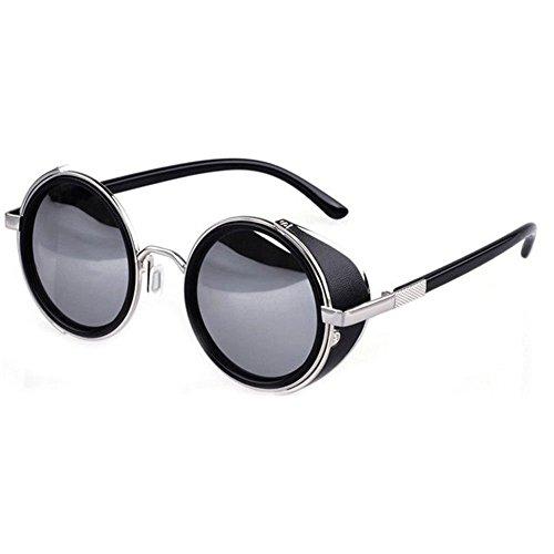 Occhiali da sole ultra Steampunk 50s turno occhiali con protezione UV400 disponibile in oro argento marrone blu specchiato stampa leopardo e tè rame Cyber occhiali entusiastiche Goth Vintage (Argento e grigio nuovo)