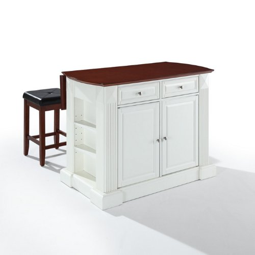 Crosley Furniture Drop Leaf Breakfast Bar Top Kitchen Island 24-Inch Upholstered Square Seat Stools at Sears.com