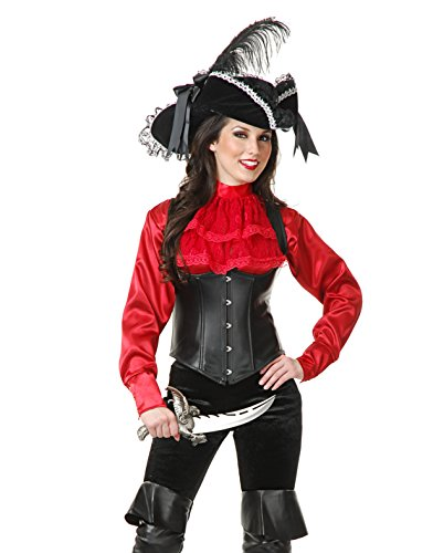 Womens Red Satin Pirate Shirt Blouse